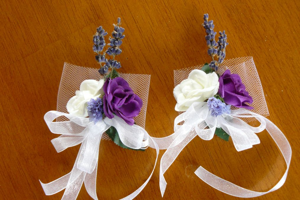 Silk White and Purple Napkin Rings